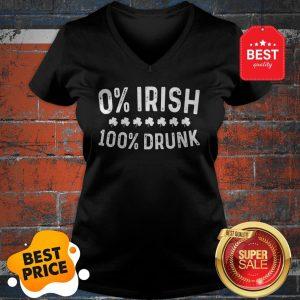 0% Irish 100% Drunk T-Shirt Vintage St. Patrick Day Gift T-V-Neck