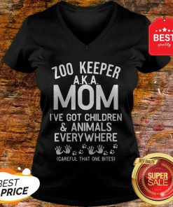 Badass Version Zoo Keeper Aka Mom I've Got Children And Animals Everywhere V-Neck
