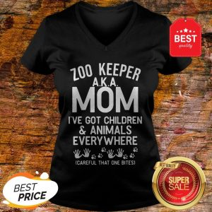 Badass Version Zoo Keeper Aka Mom I've Got Children And Animals Everywhere V-Neck