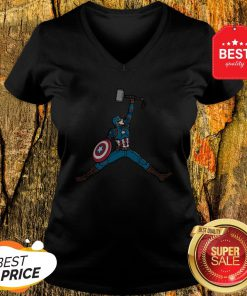 Good Captain America Hold Mjolnir Air Jordan V-Neck
