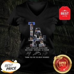 LA Los Angeles Dodgers Signature Thank You For The Great Memories V-Neck