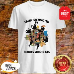 Librarian Easily Distracted By Books And Cats Black Shirt