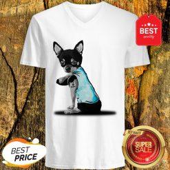 Nice Dog Black Chihuahua Tattoos I Love Mom V-Neck