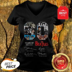 Official 60 Years Of The Beatles 1960 2020 Signatures Autographed V-Neck
