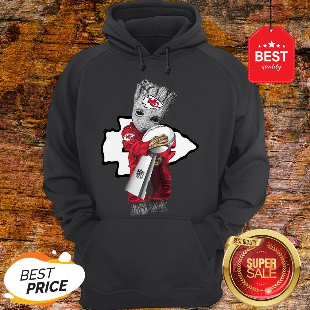 Official Baby Groot Hug Kansas City Chiefs Super Bowl Hoodie