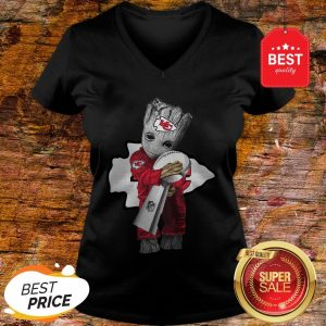 Official Baby Groot Hug Kansas City Chiefs Super Bowl V-Neck