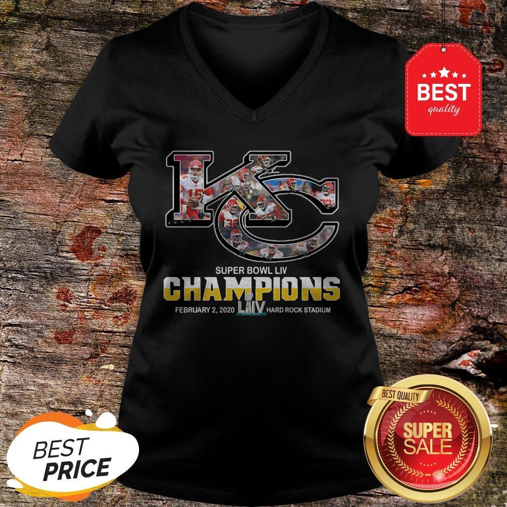 Official Kansas City Chiefs Super Bowl Liv Champions Hard Rock Stadium V-neck