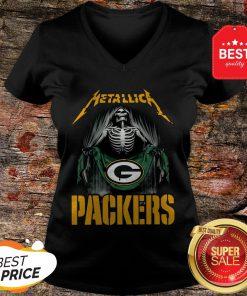 Official Metallica Skeleton Flag Green Bay Packers V-Neck