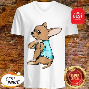 Official Strong Chihuahua I Love Mom Tattoos V-Neck
