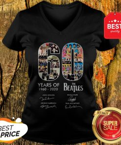 Pretty 60 Years Of The Beatles 1960 2020 Signatures Autographed V-Neck
