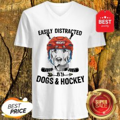 Pretty Golden Retriever Easily Distracted By Dogs And Hockey V-Neck