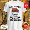 Pretty Golden Retriever Easily Distracted By Dogs And Hockey Shirt