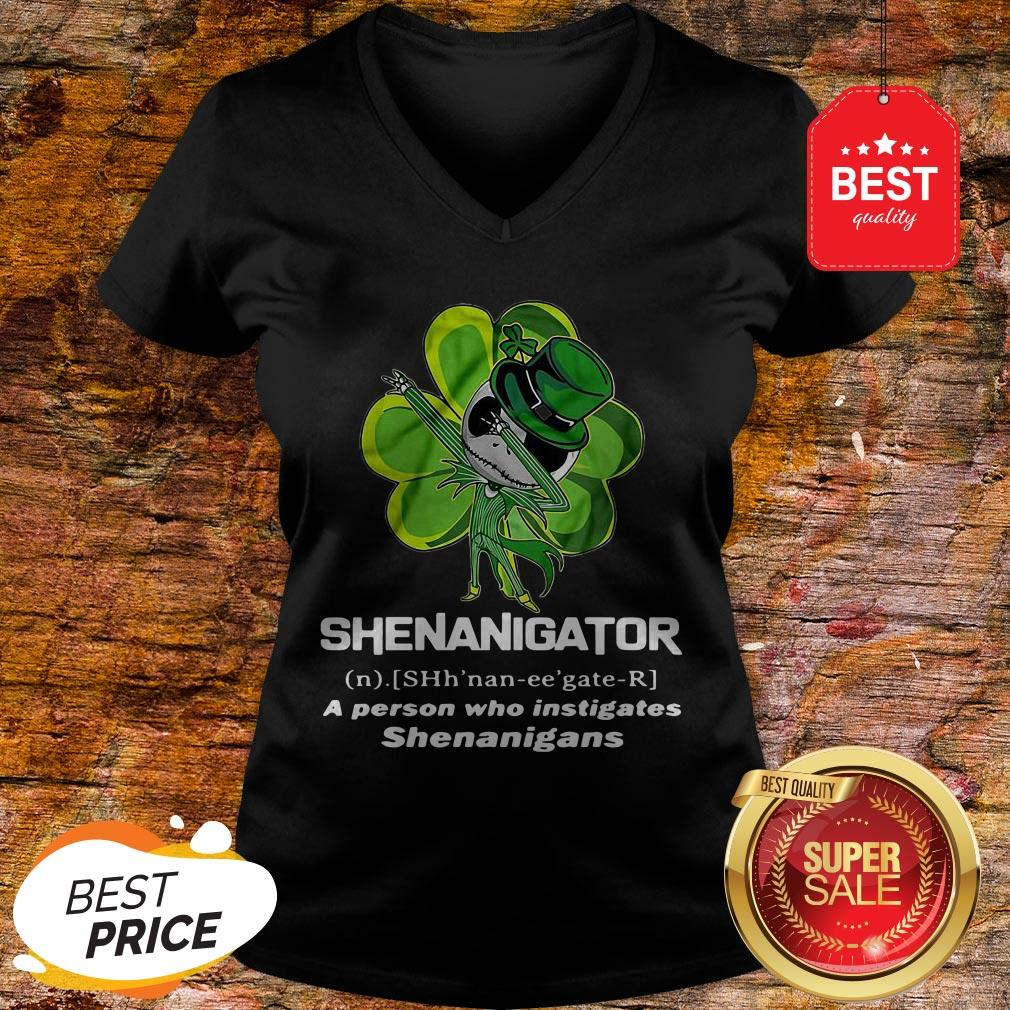 St Patrick's Day Jack Skeleton Shenanigator A Person Who Instigates Shenanigans V-Neck