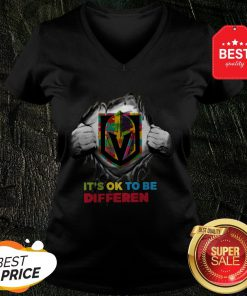 Vegas Golden Knights Mandalorian It's Ok To Be Different Autism V-Neck