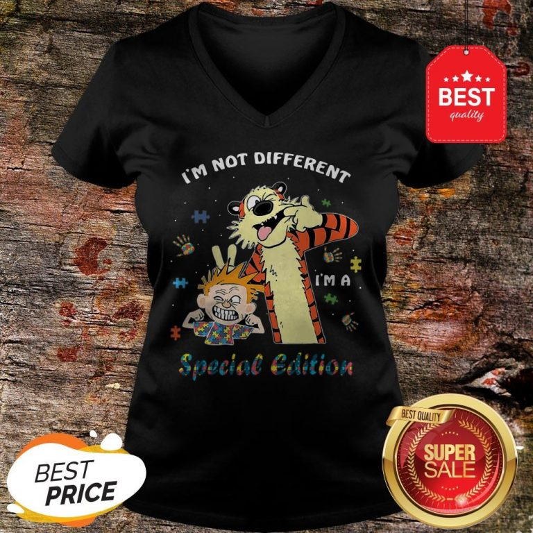 Autism Awareness I'm Not Different Special Edition Calvin Hobbes V-Neck
