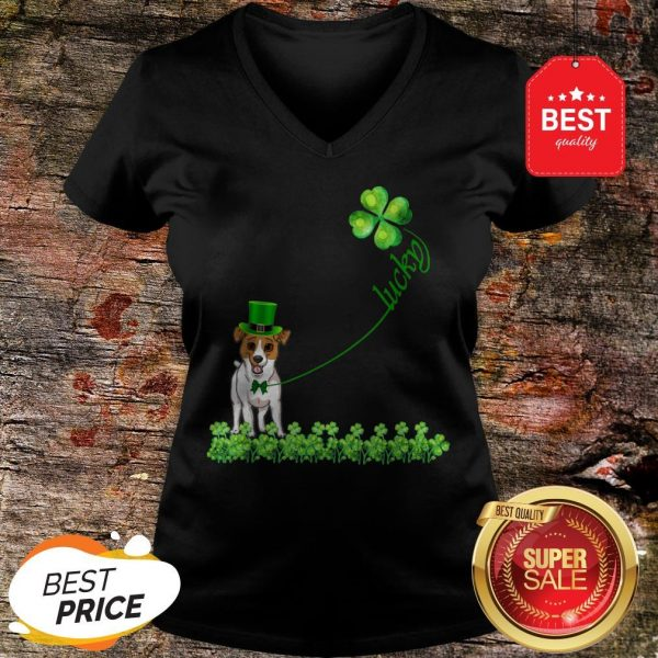 Good Lucky Saint Jack Russell Terrier Dog Shamrock St Patrick Day T-V-Neck