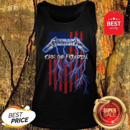 Good Metallica Merica Ride The Freedom American Flag Tank Top