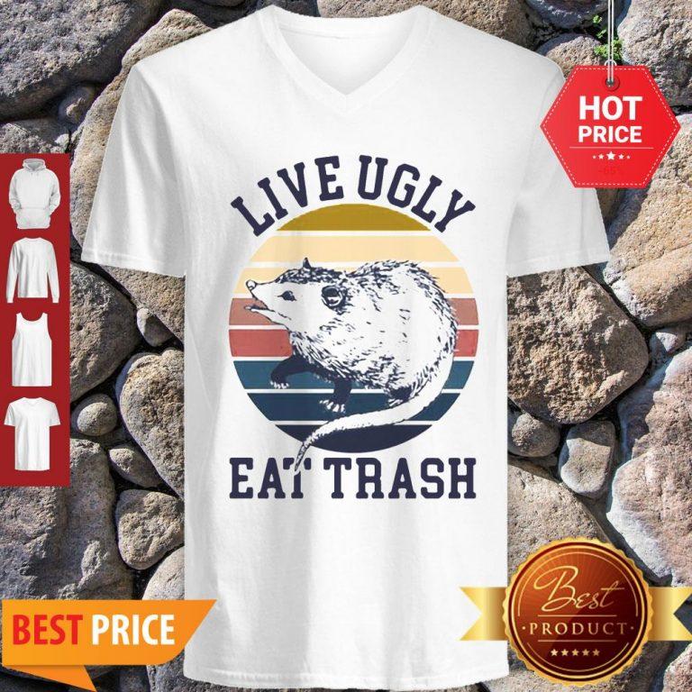 Good Opossum Live Ugly Eat Trash Vintage V-Neck