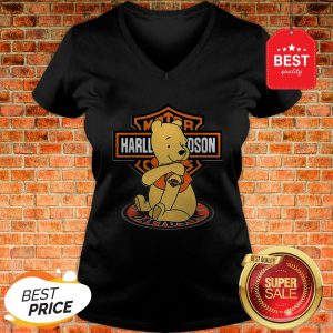 Good Pooh Tattoo Motor Harley Davidson Cycles V-Neck