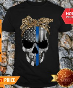 Good Thin Blue Line Skull Leopard Bow Shirt