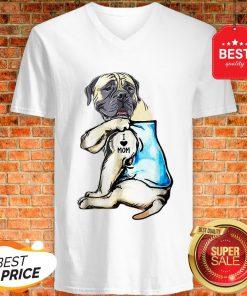 Good Top English Mastiff I Love Mom Funny English Mastiff Tattooed V-Neck
