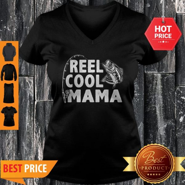Good Top Vintage Reel Cool Mama Loves Fishing Gift Mother's Day V-Neck