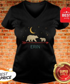 Nice Awesome Erin Name Gift Personalized Mama Bear With 1 Cub V-Neck