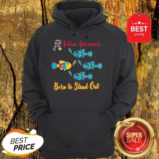 Nice Born To Stand Out Puzzle Ribbon Cool Autism Awareness Gift Hoodie