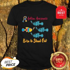 Nice Born To Stand Out Puzzle Ribbon Cool Autism Awareness Gift Shirt