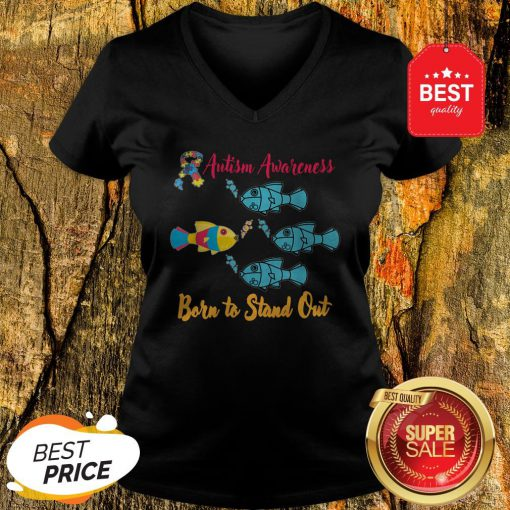 Nice Born To Stand Out Puzzle Ribbon Cool Autism Awareness Gift V-Neck