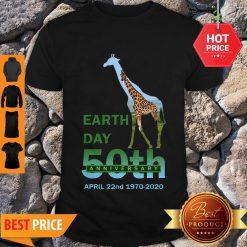 Nice Giraffe Earth Day 50th Anniversary April 22nd 1970 2020 Shirt