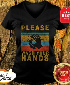 Nice Please Wash Your Hands Vintage Coronavirus V-Neck