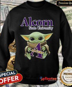 Pretty Baby Yoda Hug Alcorn State University Star Wars Sweatshirt - Design By Refinetee.com