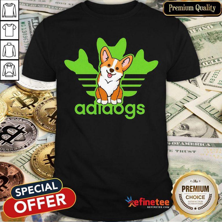 Pretty Corgi Adidas Logo Adidogs Shirt- Design By Refinetee.com