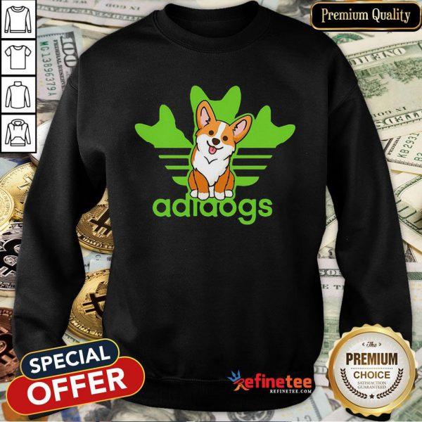 Pretty Corgi Adidas Logo Adidogs Sweatshirt