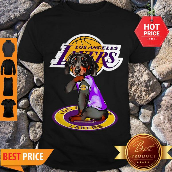 Pretty Dachshund Los Angeles Lakers Tattoo Shirt