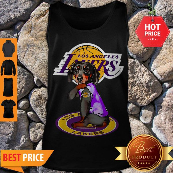 Pretty Dachshund Los Angeles Lakers Tattoo Tank Top