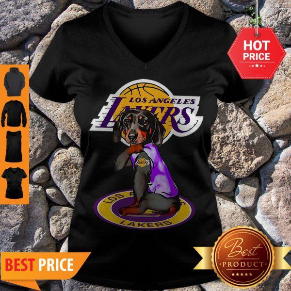 Pretty Dachshund Los Angeles Lakers Tattoo V-Neck
