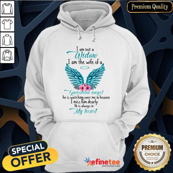 Pretty I Am Not A Widow I Am The Wife Of A Guardian Angel Wing Floral Hoodie - Design By Refinetee.com