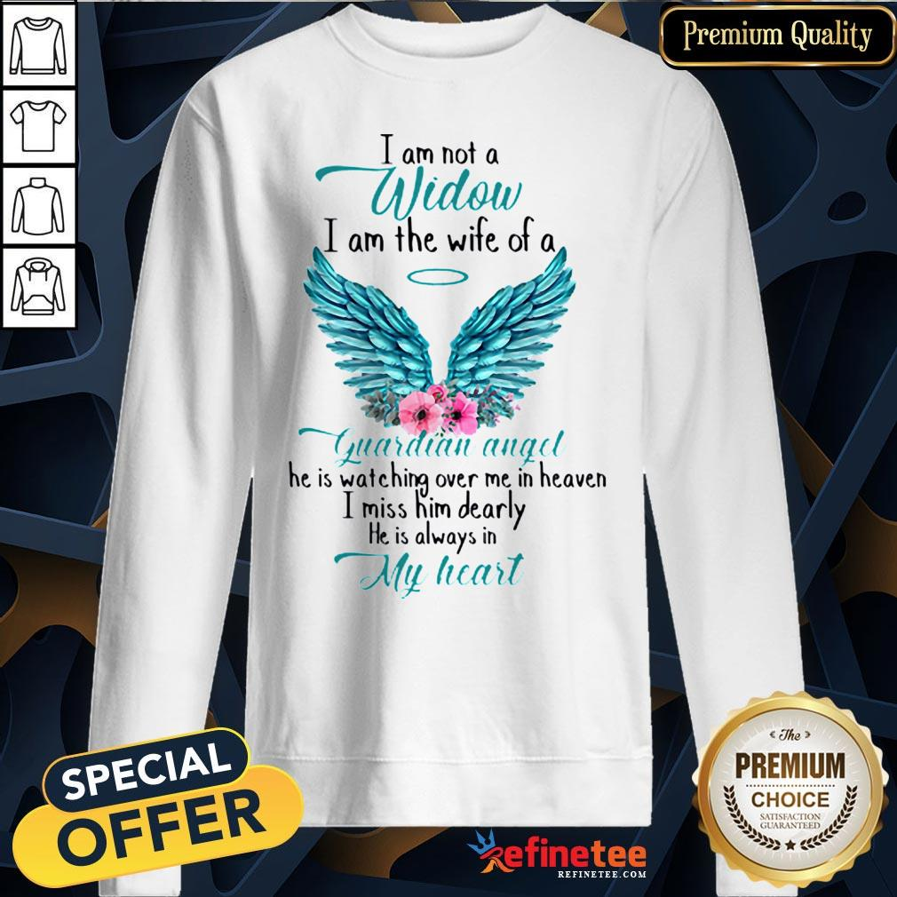 Pretty I Am Not A Widow I Am The Wife Of A Guardian Angel Wing Floral Sweatshirt - Design By Refinetee.com