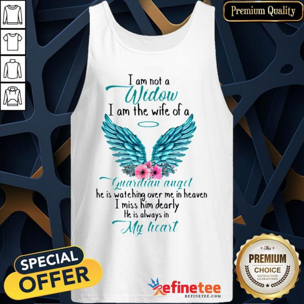 Pretty I Am Not A Widow I Am The Wife Of A Guardian Angel Wing Floral Tank Top - Design By Refinetee.com