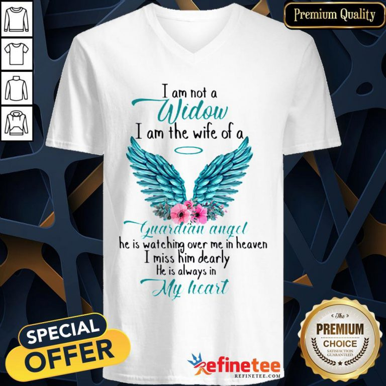 Pretty I Am Not A Widow I Am The Wife Of A Guardian Angel Wing Floral V-neck - Design By Refinetee.com