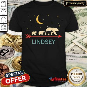 Pretty Lindsey Name Gift Personalized Mama Bear With 3 Cubs Shirt