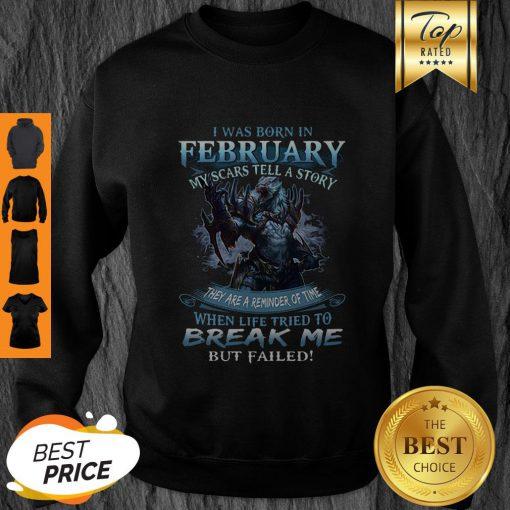Pretty Wolf Warrior I Was Born In February My Scars Tell A Story Sweatshirt - Design By Refinetee.com
