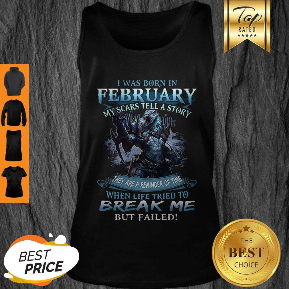 Pretty Wolf Warrior I Was Born In February My Scars Tell A Story Tank Top - Design By Refinetee.com