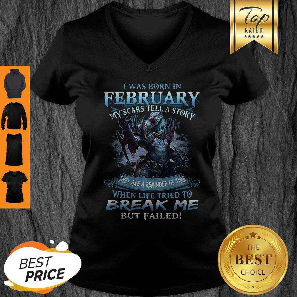 Pretty Wolf Warrior I Was Born In February My Scars Tell A Story V-neck - Design By Refinetee.com