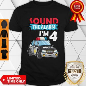 Birthday Boy4 Years Old Police Car Policeman Cop Shirt