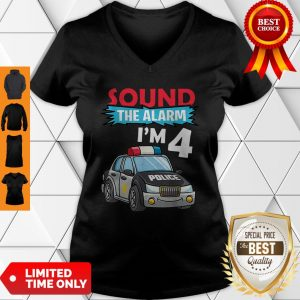 Birthday Boy4 Years Old Police Car Policeman Cop V-Neck