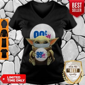 Funny Baby Yoda Face Mask Hug 99 Only I Can't Stay At Home V-Neck