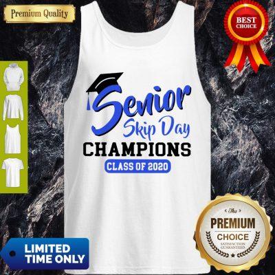 Funny Senior 2020 Skip Day Champs White Blue Tank Top
